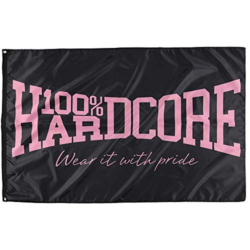 100% Hardcore Banner The Brand, Black/Pink Gabber Bandera Techno Bandera Wanddeko