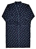 Stafford Mens Navy Blue Marlin Woven Kimono Robe Housecoat Bath Robe OSFM Big