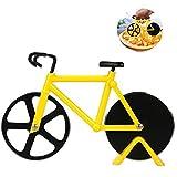 Bicicleta Cortador de Pizza, Rueda de Cortador de Pizza de Acero Inoxidable con Revestimiento Antiadherente y Soporte, Pizza Ruedas Cortadora Cocina Herramientas (Amarillo)