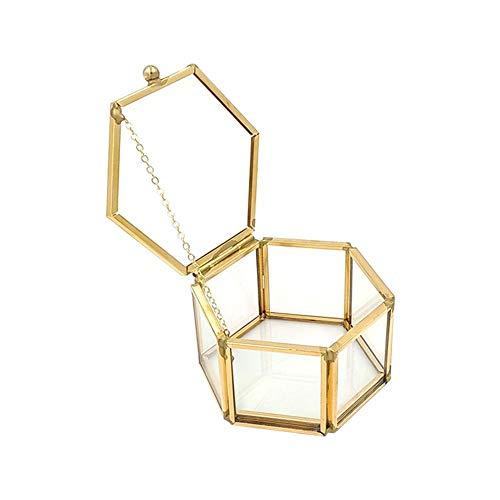 presentimer - Joyero para Anillos de Boda, diseño geométrico de Cristal Transparente, Dorado, A