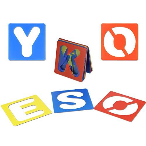 Mwoot 36 piezas de alfabeto y conjunto de plantillas de números, plantillas de letras de plástico para el aprendizaje de la pintura, decoración del arte de bricolaje