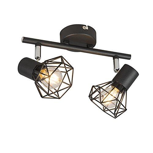 QAZQA - Modern Art Deco Spot | Spotlight | Deckenspot | Deckenstrahler | Strahler | Lampe | Leuchte schwarz schwenk- und neigbar - Mosh 2-flammig | Wohnzimmer | Schlafzimmer | Küche - Stahl Länglich -
