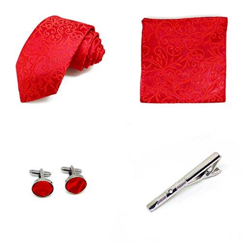 S.R HOME Coffret Cadeau Ensemble Cravate homme, Mouchoir de poche, épingle et boutons de manchette Motif cachemir rouges