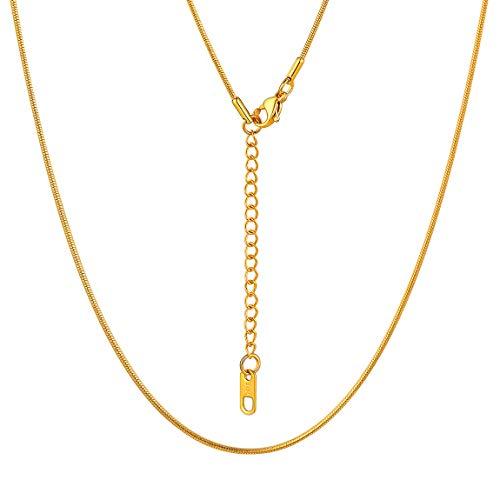 Joyerías Simples Cadenas Finas de Serpiente Combinado con Abalorios Dijes Colgantes Collares Modernos de Regalo 55cm Dorado