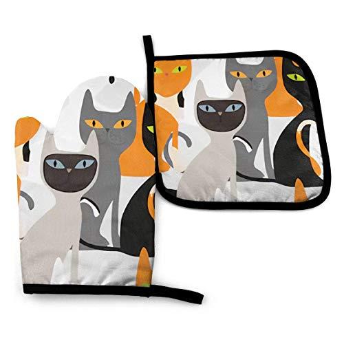 Varias bolsas para gatos Guantes para horno y agarraderas Guantes para barbacoa-Guantes para horno y porta ollas con guantes de poliéster impermeables para cocinar para cocinar, hornear, asar a la par