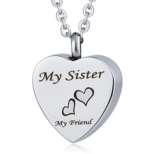 AnazoZ Halsketting urne graburne herinnering hanger hart 'My Sister My Friend' roestvrij staal