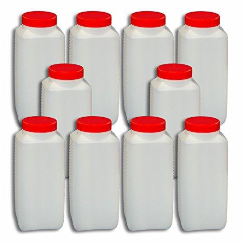 Wilai 10 x 1000 ml Weithalsflasche mit Verschluss Behälter Plastikflasche PE-Flasche lebensmittelecht ***Ideal zum Abfüllen von Kosmetikprodukten***