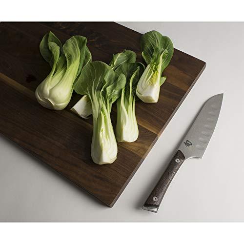 Shun Kanso 5.5-Inch Hollow-Ground Santoku; Smaller Knife Ideal for Medium-Sized Tasks; Fits Comfortably in Hand; High-Performance, Razor-Sharp Stainless Steel Blade; Tagayasan Wood Handle