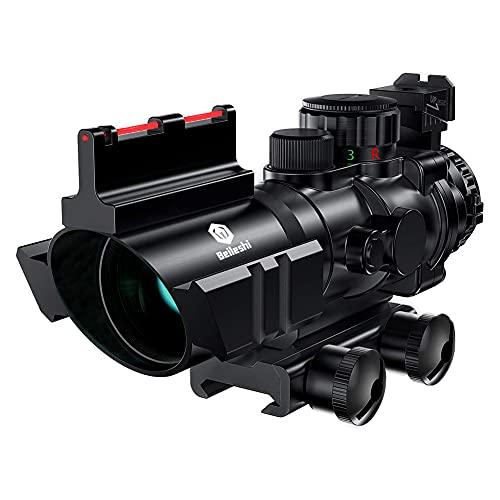 Beileshi Zielfernrohr 4x32mm Leuchtpunktvisier mit Fiberoptic Red Green Dot Visier Zielgerät