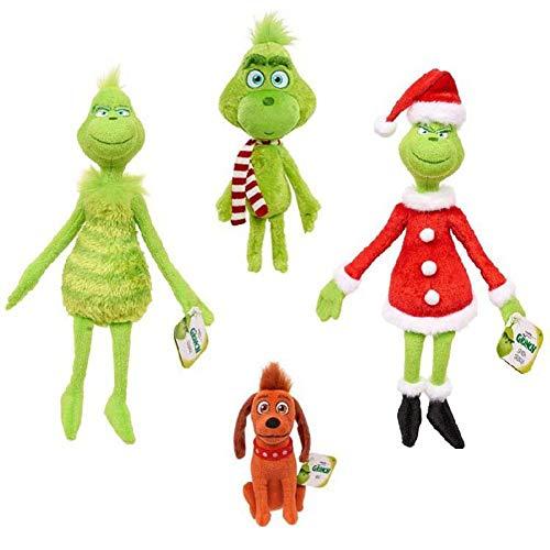 Surakey Weihnachten Grinch Plüsch Puppe, Grinch Weihnachten deko, Weihnachten Puppen Plüsch Spielzeug Hund Plüsch Geschenk Set Weiche Puppe Kuscheltiere Plüschtier Geschenk für Kinder