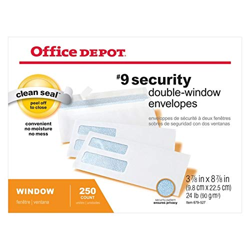 Office Depot Double-Window Envelopes, 9 (3 7/8in. x 8 7/8in.), White, Clean Seal(TM), Box of 250, 77166 Photo #5