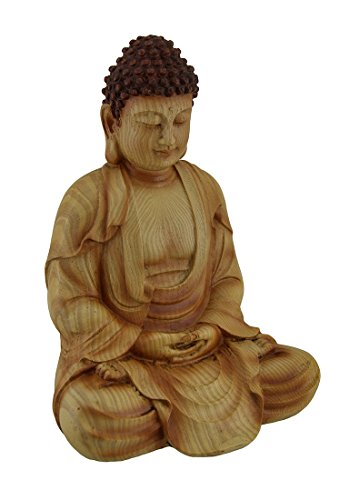 Zeckos Sitting Meditating Buddha Decorative Faux Carved Wood Look Statue