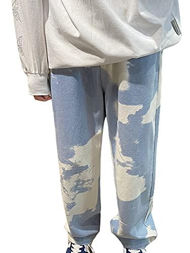 Y2K - Pantalones vaqueros para hombre, estilo vintage, estilo holgado, corte holgado, pierna ancha, pantalones...