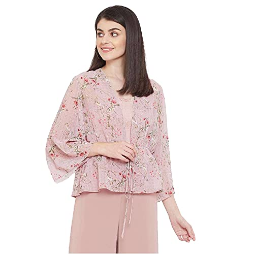 Madame Printed Square Neck Polyester Womens Casual Shrug(S21MAD1S14007P003, Pink, Large)