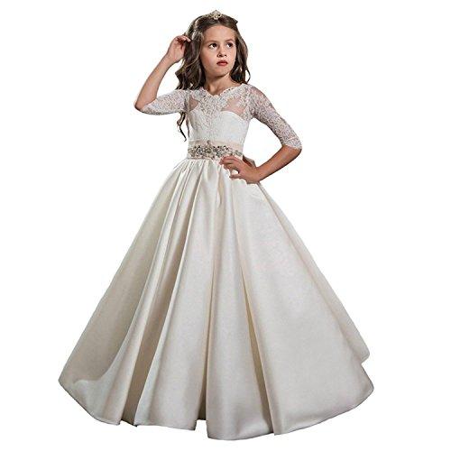 Auxico Satén La más Nueva Princesa Vestido de niña de Las Flores de Vestido Vestido de Primera comunión Vestido de Fiesta de la Boda (as pic, 9 años)