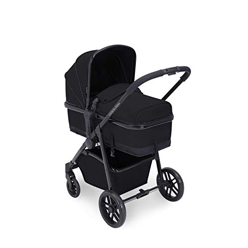 Ickle Bubba Moon, 2 in one Travel System, Includes carrycot & Reversible Pushchair (Black with Black Handles)