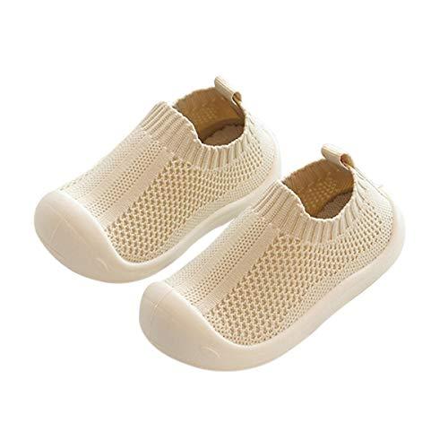 DEBAIJIA Buty dla niemowląt 1-5T buty dziecięce do nauki chodzenia buty dziecięce materiał TPR wsuwane trampki miękka podeszwa antypoślizgowa siatka oddychające lekkie buty, Siatkowy beżowy, 25/27 EU