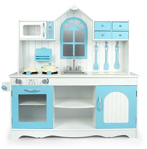 Leomark Blue Küche, Spielküche aus Holz - Blau Farbe - Holzküche für Kinder, Kinderküche mit Fenster, Spielzeug, wunderschönes Design, Höhe 108 cm