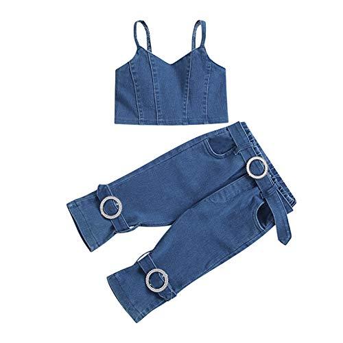 Toddler Girl Clothes - Juego de 2 chalecos, camiseta de manga corta, camiseta vaquera con bolsillo para niña, camiseta de verano y pantalones vaqueros turquesa 6-12 meses