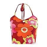 ASPOL Halter cuello Y2K flor impresa camisola para las mujeres sin mangas sin espalda Crop Top 90s E-Girls verano moda Streetwear, naranja, M
