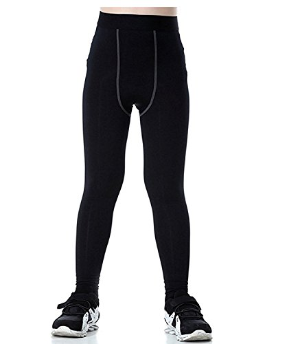 Lanbaosi Boys & Girls Sports Thermal Compression Base Layer Legging/Tights (14, Black)