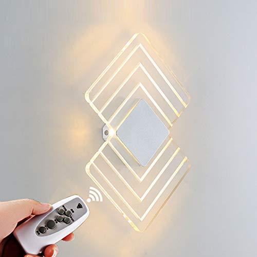 VOMI Lámpara LED Pared Interior con Mando Distancia Interruptor Lámpara Pared Regulable Modo Luz Nocturna Con 3 Niveles de Brillo y Función de Temporización Lámpara Cabecera para Dormitorio Salón 6W