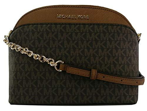 Michael Kors Shoulder Cross Body Bag PVC & Leather Logo Monogram Small Handbag (Brown)