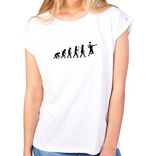 JUNIWORDS Damen T-Shirt -Evolution Badminton - große Auswahl an Motiven - Größe: XS - Farbe: Weiß