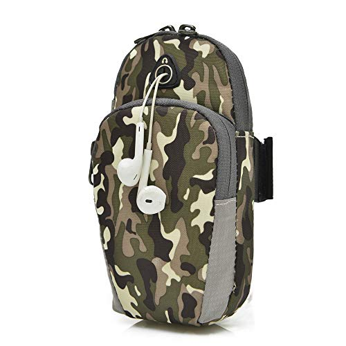 Boens Camouflage Style Running Wrist Bags with Earphone Hole, Arms Band Breathable Outdoor Run Bag Camping Hiking, Accommodate Your Cell 6 inches Phone, Cigarette, Cash, Keys, Wallet, MP3, etc-Green