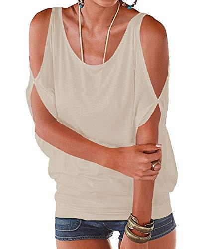 YOINS YOINS Tshirt Damen Bluse Kurzarm Schulterfrei Oberteil Damen Shirt Sommer Carmen Rundhals Einfarbig Tops