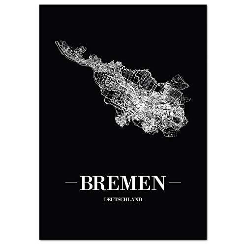 JUNIWORDS Stadtposter, Bremen, Wähle eine Größe, 30 x 40 cm, Poster, Schrift A, Schwarz