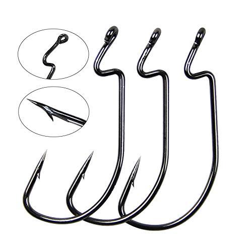 Anzuelos 100 piezas 38105acero de alto carbono Shaddock Fishing® 50 de pesca, negro, amplia brecha, gusano suave cebos, gancho para pesca, aparejos Texas tamaño 1/02/04/0, 1/0-50Pcs