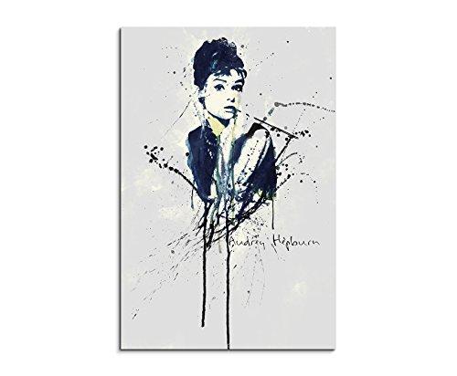 Paul Sinus Art Audrey Hepburn 90x 60cm Keilrahmenbild Kunstbild Aquarell Art Wandbild auf Leinwand fertig gerahmt Original Unikat