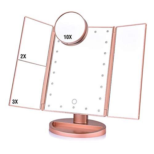 Espejo de vanidad con 22 luces LED para espejo de maquillaje, 3 aumentos plegables, espejo de tocador cosmético 1X/2X/3X/10X lupa de pantalla táctil de mesa de compensación (color: rojo 22 LED espejo)