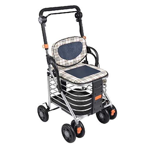 Rollatoren Einkaufstrolleys Shopping Trolley Aluminium-Legierung Vierrad-Anhänger Old Pkw Kann Sitzen Auf Der Faltbare Pull Wagen Can 100 Kg Bär (Color : Silver, Size : 48 * 50 * 90-94cm)