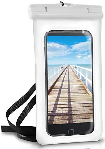 Funda impermeable para Motorola y Lenovo | Pantalla táctil y cámara + pulsera y correa para colgar | Color blanco (perlas)