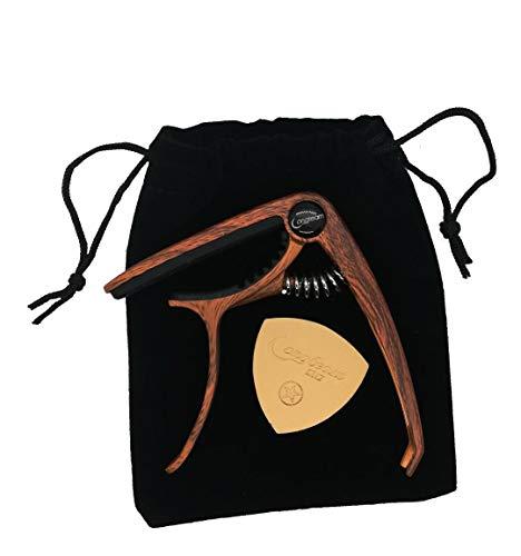 Juego de cejilla con púa de piel y funda de terciopelo para ukelele, guitarra acústica y western
