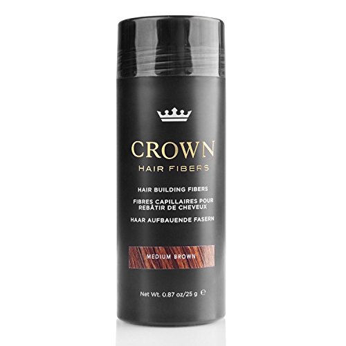 CROWN Hair Fibers - Best Keratin Hair Fibers Instantly Thickens Thinning Hair for Men and Women - Natural Hair Loss Concealer 0.87oz - Medium Brown