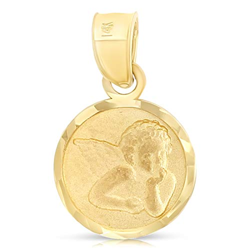 Ioka - 14K Yellow Gold Angel Religious Charm Tiny Pendant For Necklace or Chain