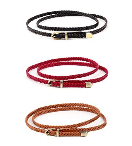 Oyccen 3 Piezas Cinturón Delgado para Mujer Cinturones Trenzados con Hebilla de Metal Correa Decorativa de Cintura