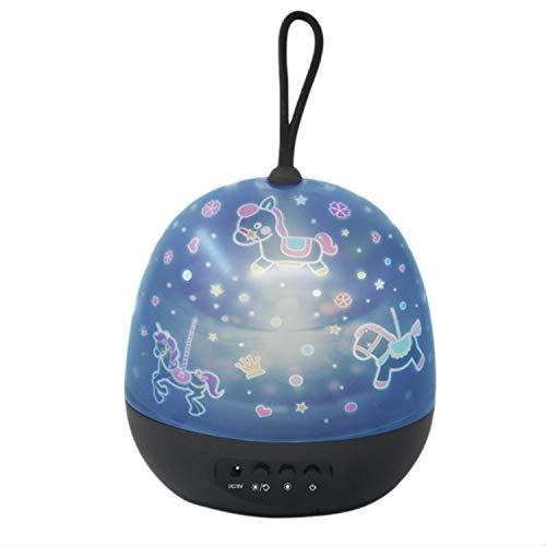 bobotron Lámpara de noche transparente para niños, proyector de película de 360 grados, lámpara de proyección de luna y estrella, lámpara de mesita de noche, color negro