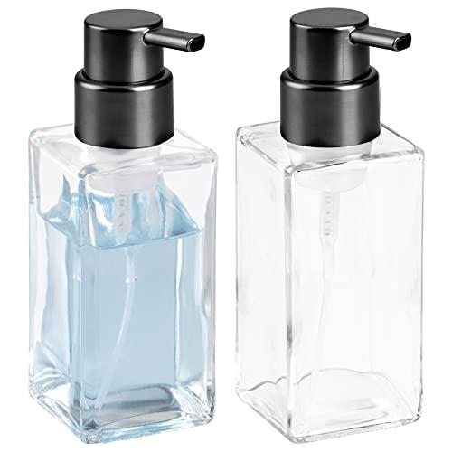 mDesign Modern Square Glass Refillable Foaming Hand Soap Dispenser Pump Bottle for Bathroom Vanities or Kitchen Sink, Countertops - 2 Pack - Clear/Brushed Black Nickel