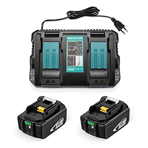 OMBAR 2 Piezas 18V 5000mAh Litio Ion Batería, con Cargador de Doble Puerto de Repuesto para Makita DC18RC, Compatible con Makita BL1860 BL1850 BL1845 BL1840 BL1830 BL1815 LXT-40