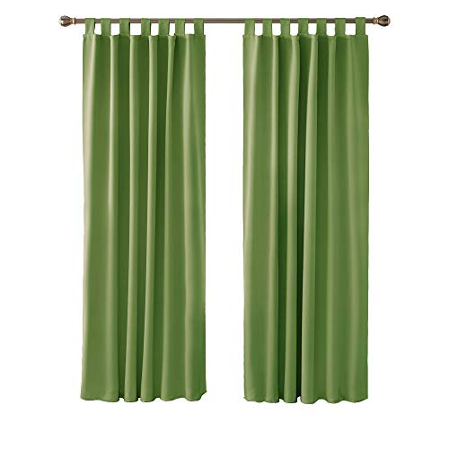 Deconovo Functional Window Treatments Tab Top Curtains Blackout Curtains Thermal Insulated Curtains for Living Room Green W52 x L84 Inch One Pair