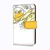 anve ZenFone Go ZB551KL 国内生産 カード スマホケース 手帳型 ASUS エイスース ゼンフォン ゴー 【C.イエロー】 鳥 花 蔓 ハート best_vc-742_sp