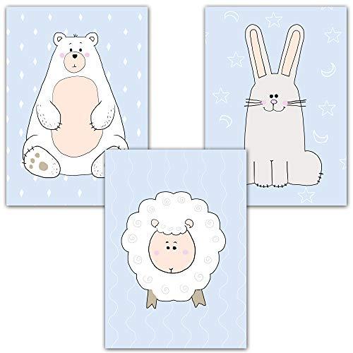 Wandbilder für Kinderzimmer 3er Set Deko von Homery, Babyzimmer hochwertige Poster DIN A4 Bilder - Mädchen und Jungen Dekoration in Modernen Farben Kunstdruck (Tiere Blau)