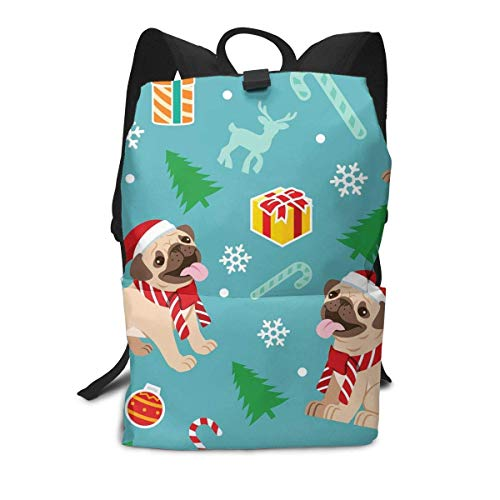 Homebe Pug Cute Charm Gift Blue Mochila,Mochila Unisex, Mochilas y Bolsas School Travel Hiking Small Mini Gym Teen Little Girls Youth Kid Women Men Printed Patterned Themed Bookbags