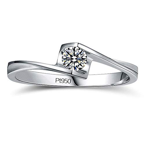 Platina vergulde sterling zilveren ring, 0.3 karaat Moissanite gesimuleerde diamanten verlovingsring voor vrouwen