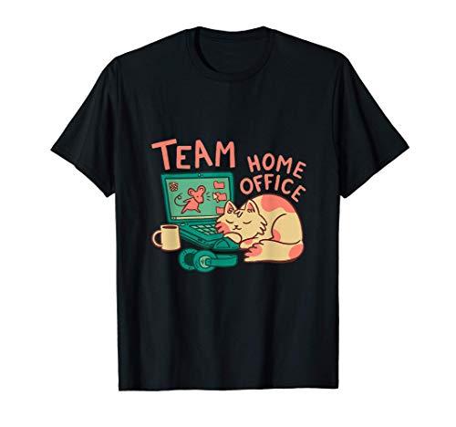 Lustiges Home Office Büro Heimarbeit Remote Quarantäne Katze T-Shirt