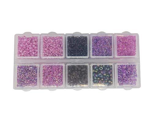 Juego de perlas de rocalla de color violeta y morado de 2 mm, 3 mm, 4 mm, con caja clasificadora, 120 g, perlas de cristal de colores en caja, juego de perlas redondas, perlas para enhebrar